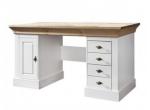 Białe biurko w stylu country z dębowym blatem Amarant