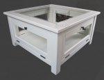Biały stolik NO.03 Retro Scandinavia w stylu prowansalskim 80x80 cm