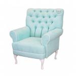 Miętowy fotel w stylu Hampton Rey