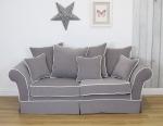 Szara sofa z kontrastową białą lamówką Andrea 210 cm/FS