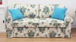 Rozkładana sofa w niebieskie róże Marie 206 cm/FS