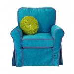 Kobaltowy fotel z różową lamówką Marie