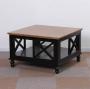 Czarny stolik z dębowym blatem i zabudowanymi bokami NO.74