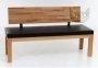 Ławka z drewna z oparciem i tapicerowanym siedziskiem Nicola