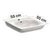Unterfahrbare Waschtisch für barrierefreies Bad 55 x 55 cm groß mit Überlauf