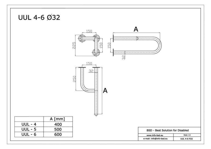 Stützgriff am Waschbecken links 55 cm lang für barrierefreies Bad aus rostfreiem Edelstahl ⌀ 32 mm mit Abdeckrosetten
