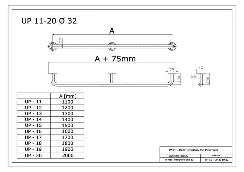 Handlauf für barrierefreies Bad 120 cm aus rostfreiem Edelstahl ⌀ 32 mm