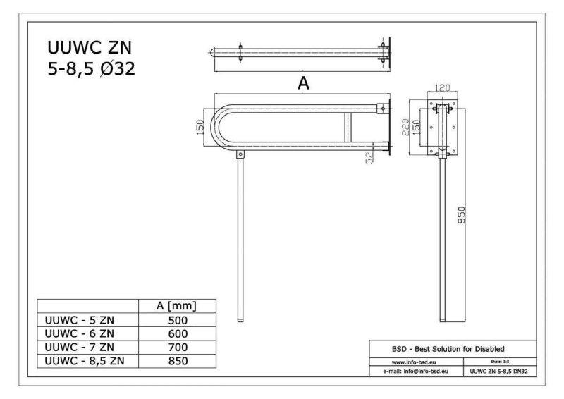 WC - Klappgriff für barrierefreies Bad mit Stützbein 75 cm aus rostfreiem Edelstahl ⌀ 32 mm