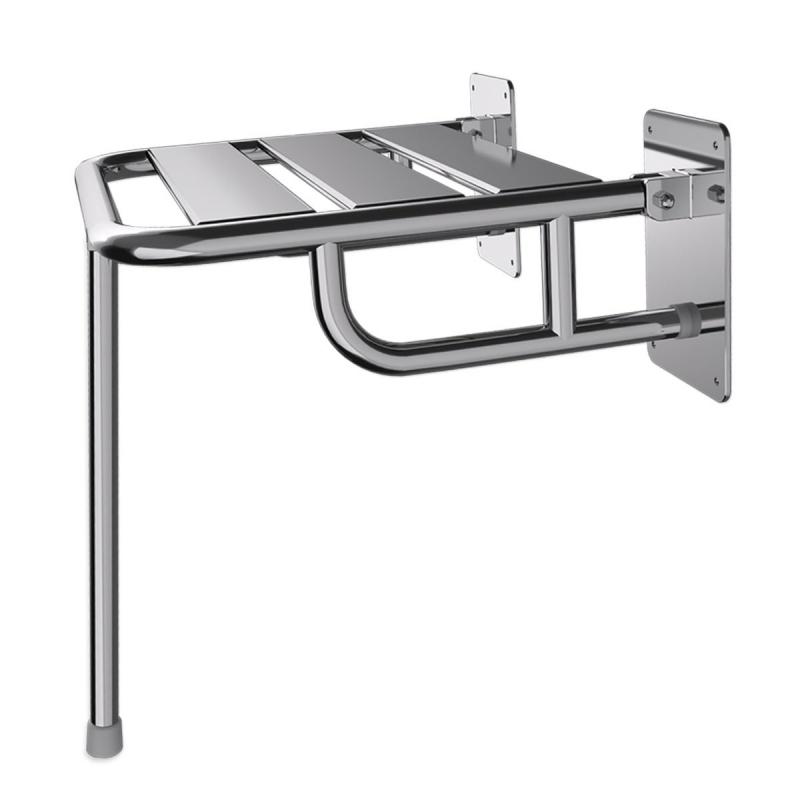 Duschklappsitz aus Edelstahl für barrierefreies Bad mit Wandstützen und Stützbein