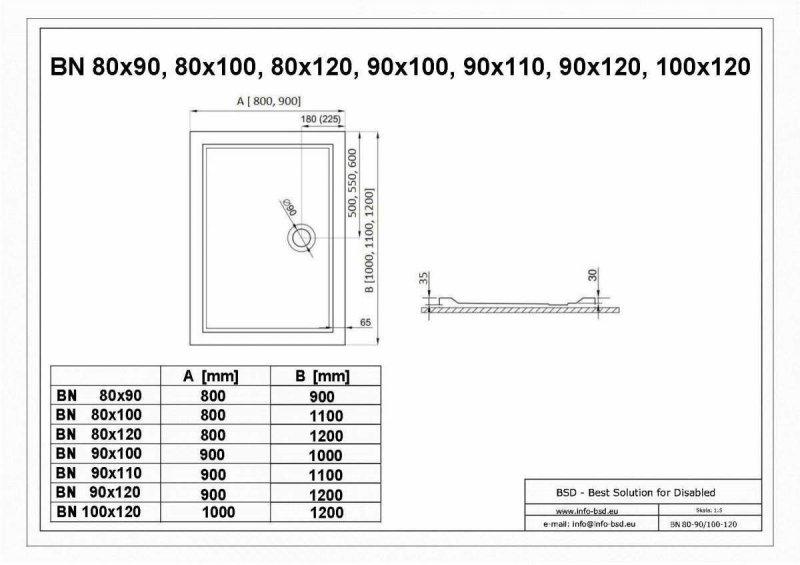 Duschwanne mit Abfluss seitig für barrierefreies Bad 110 x 80 cm