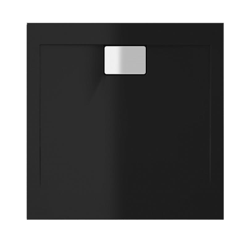 Schwarze Duschwanne für barrierefreies Bad 80 x 80 cm