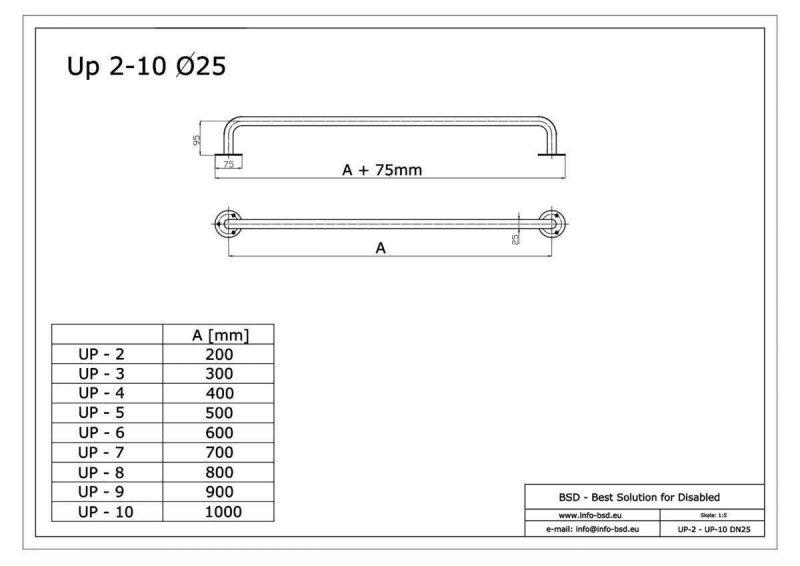 Gerader Handlauf für barrierefreies Bad 50 cm  aus rostfreiem Edelstahl ⌀ 25 mm