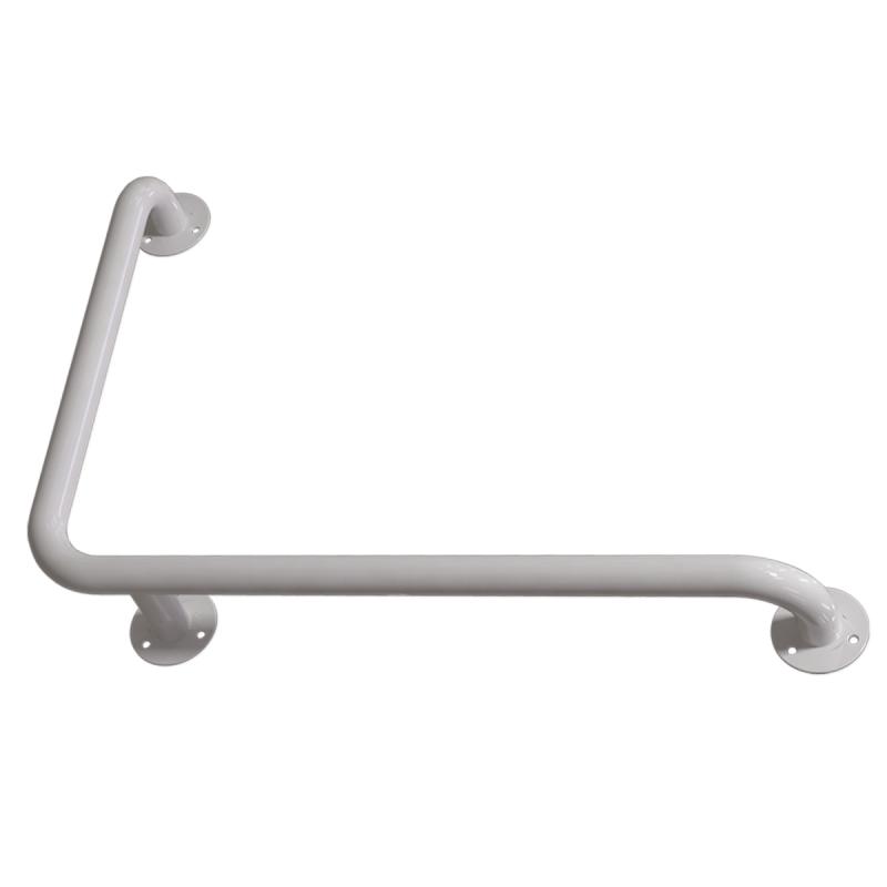 Winkelgriff 80/60 cm für barrierefreies Bad rechts montierbar weiß ⌀ 32 mm
