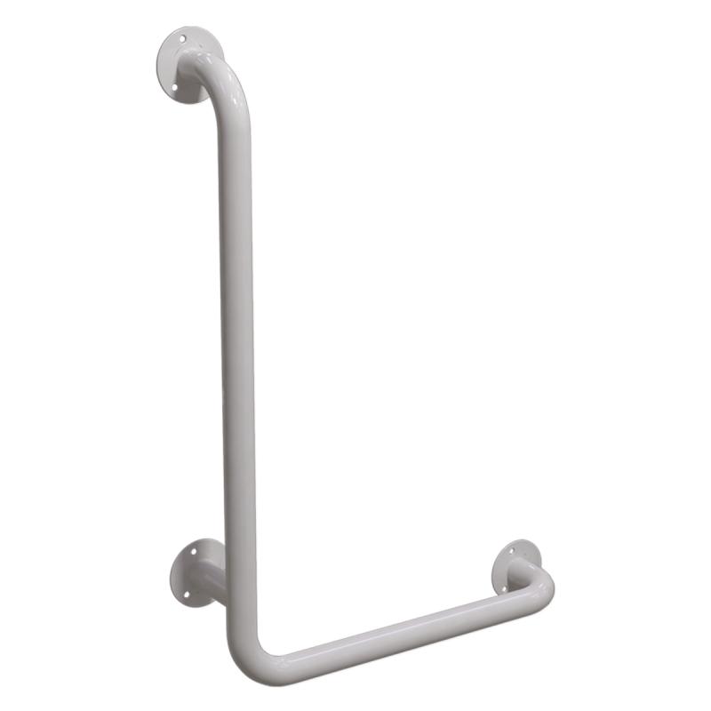 Winkelgriff 60/40 cm für barrierefreies Bad links montierbar weiß ⌀ 32 mm
