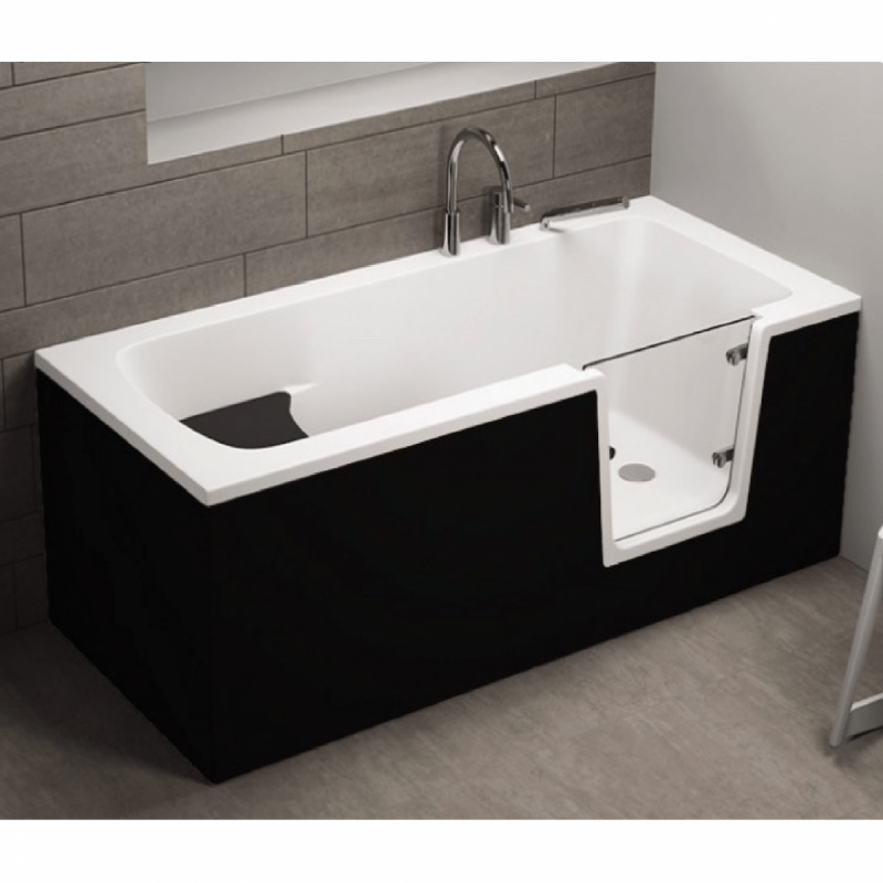 Badewanne für barrierefreies Bad mit Tür rechts und integrierter abnehmbarer Sitzbank für Senioren VOVO 140 cm