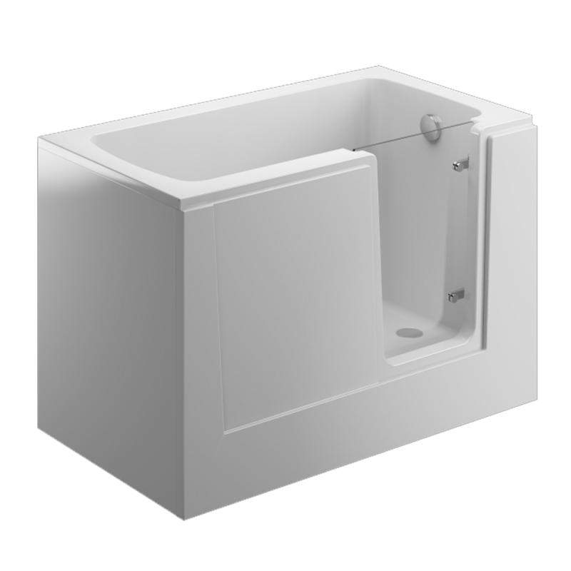 Badewanne PERE für barrierefreies Bad mit profiliertem Sitzbereich mit Tür rechts inkl. weiße Schürze
