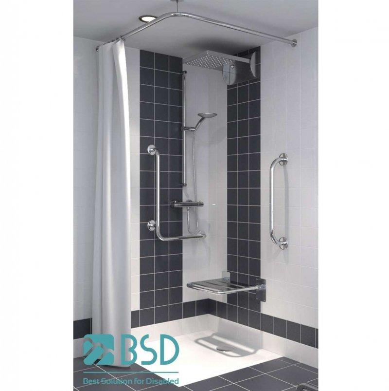 Winkelförmige Duschvorhangstange aus Edelstahl 90 x 90 cm