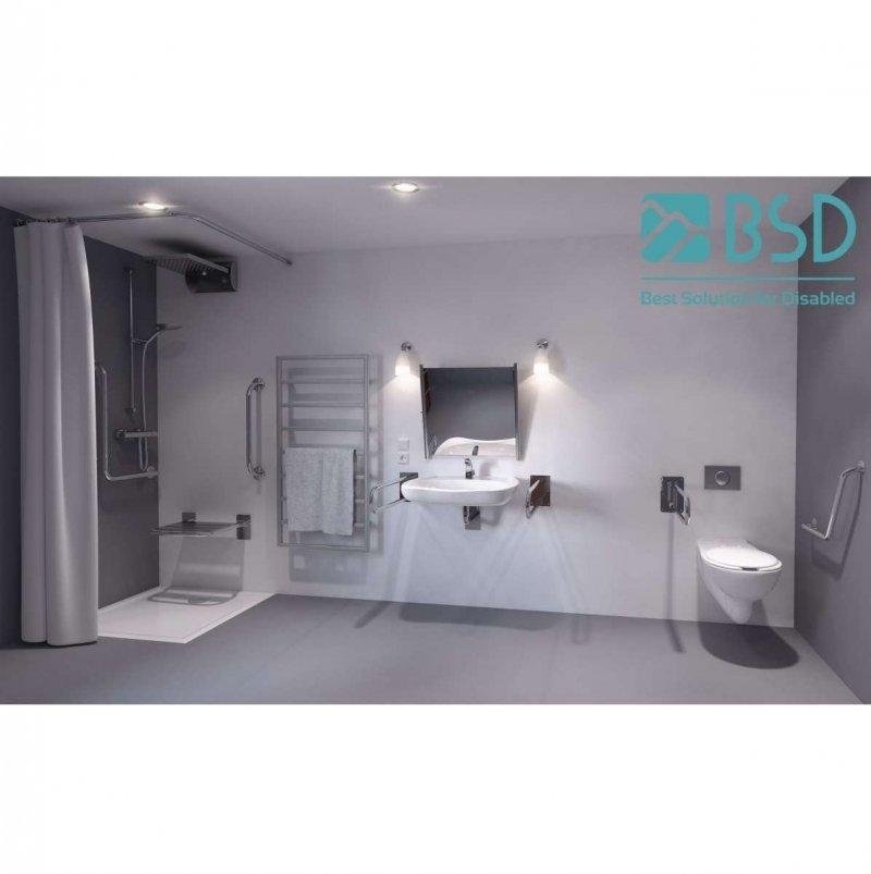 Handlauf für Badewanne für barrierefreies Bad 120/70 cm aus rostfreiem Edelstahl ⌀ 25 mmHandlauf für Badewanne für barrierefreies Bad 120/70 cm aus rostfreiem Edelstahl ⌀ 25 mm
