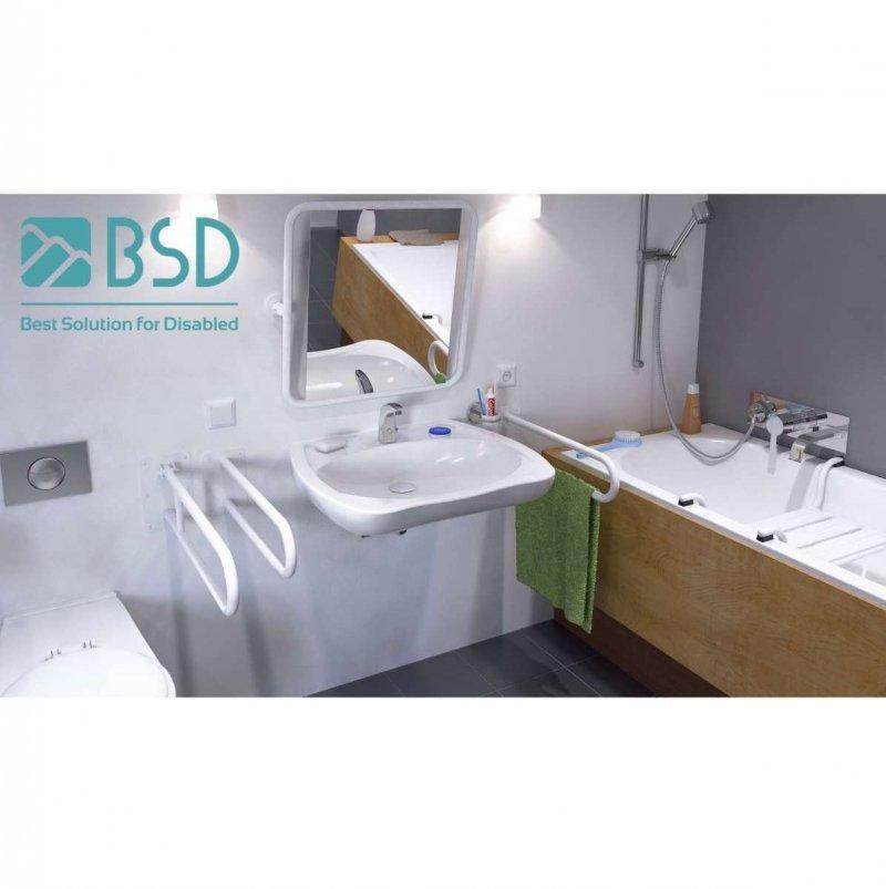 Handlauf für barrierefreies Bad 150 cm weiß ⌀ 25 mm