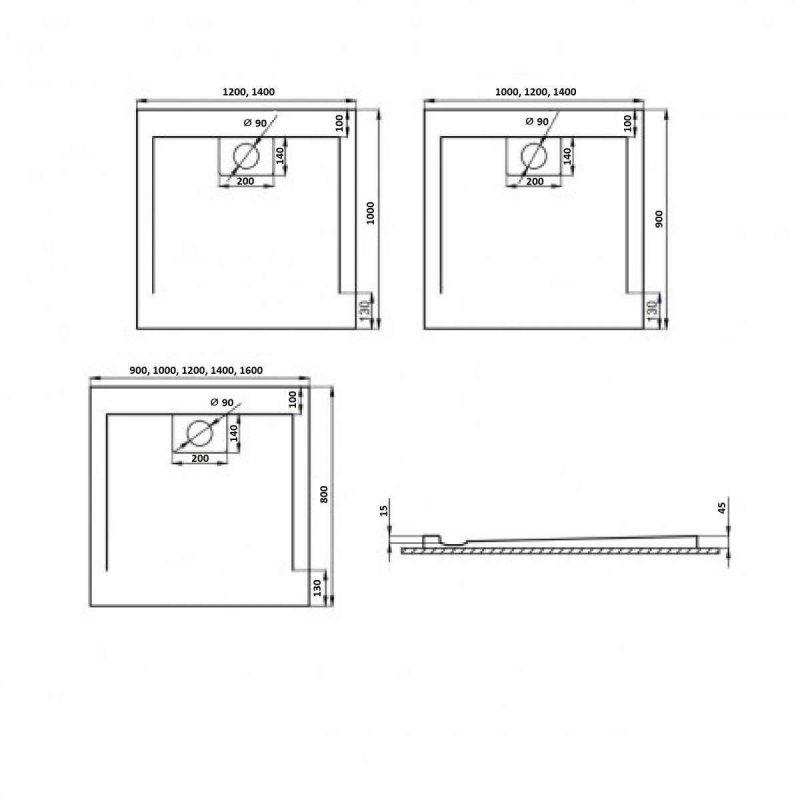 Weiße Duschwanne für barrierefreies Bad 100 x 100 cm