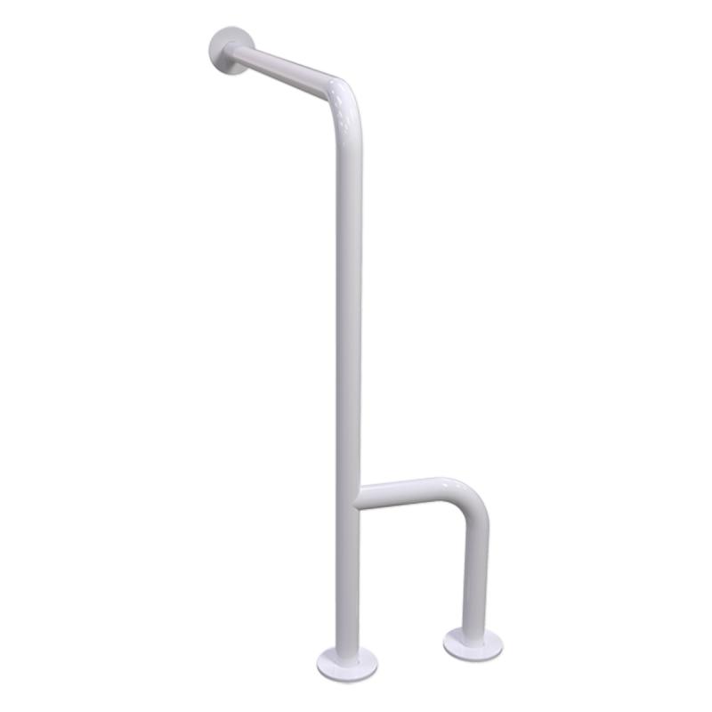 WC-Stützgriff für barrierefreies Bad links montierbar weiß 70 cm ⌀ 32 mm mit Abdeckrosetten