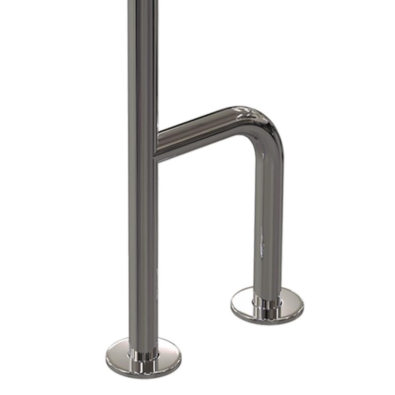 WC Stützgriff für barrierefreies Bad zur Wand-Boden-Montage links 80cm aus rostfreiem Edelstahl ⌀ 32 mit Abdeckrosetten mit Abdeckrosetten