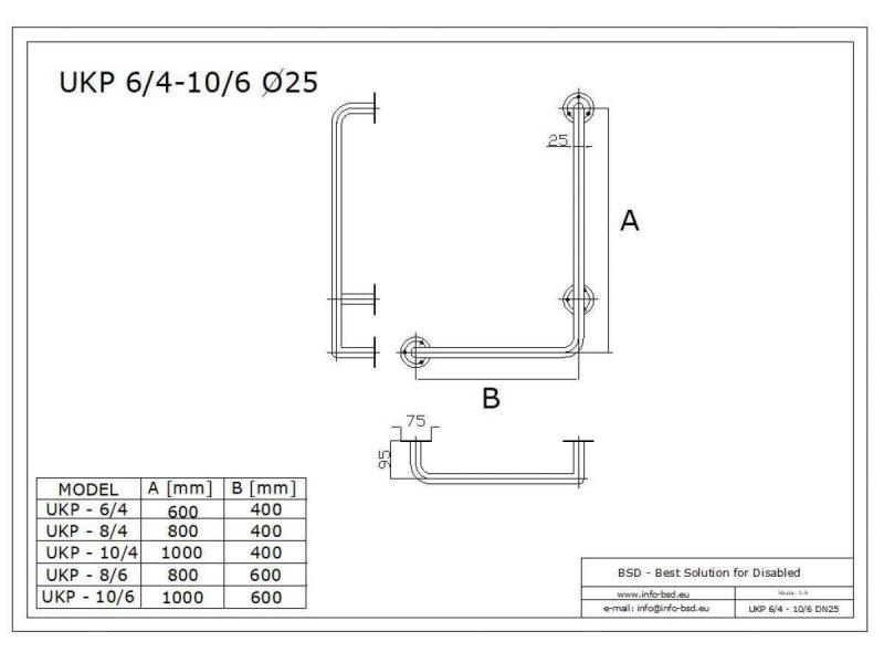 Winkelgriff 80/40 cm für barrierefreies Bad rechts montierbar weiß ⌀ 25 mm