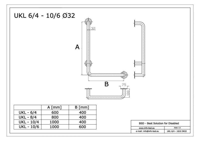 Winkelgriff 60/40 cm für barrierefreies Bad links montierbar weiß ⌀ 32 mm mit Abdeckrosetten