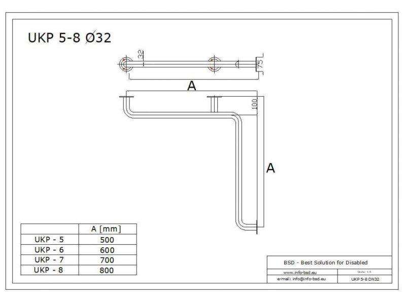 Winkelgriff waagerecht für barrierefreies Bad 70/70cm aus rostfreiem Edelstahl ⌀ 32 mm