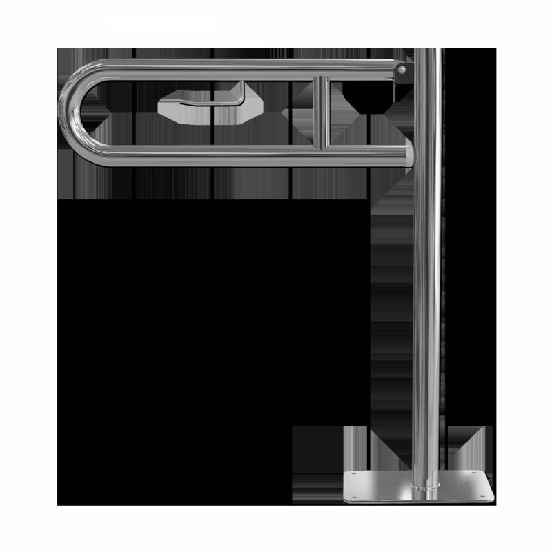 WC Klappgriff 85cm mit Toilettenpapierhalter aus rostfreiem Edelstahl ⌀ 32 mit Abdeckplatten