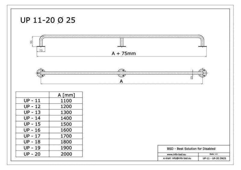 Handlauf für barrierefreies Bad 180 cm weiß ⌀ 25 mm