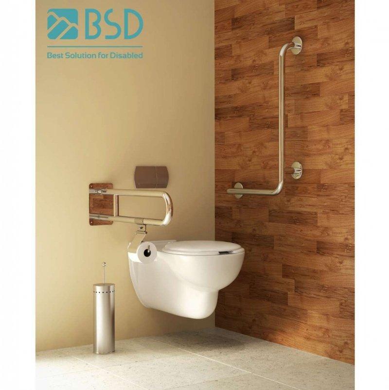 WC Klappgriff für barrierefreies Bad aus rostfreiem Edelstahl 85 cm ⌀ 32 mit Abdeckplatten