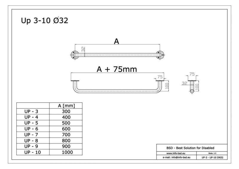 Haltegriff für barrierefreies Bad 70 cm weiß ⌀ 32 mm mit Abdeckrosetten