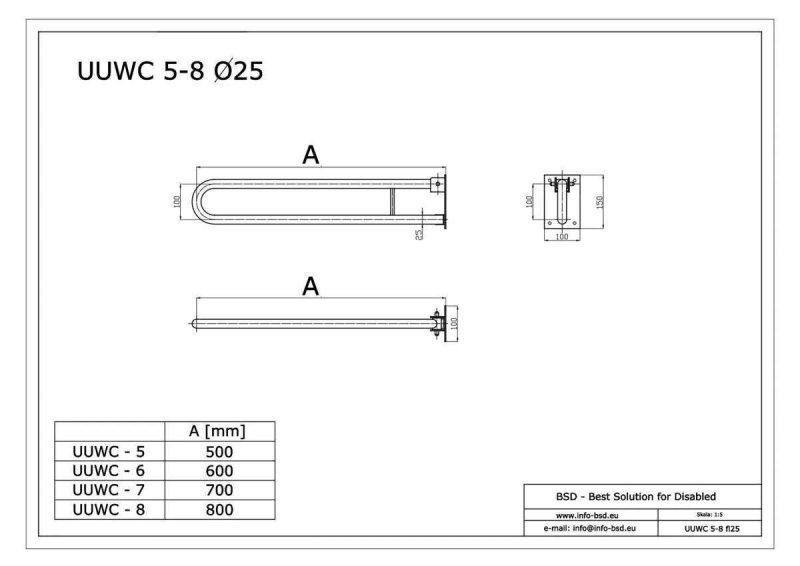 WC Klappgriff für barrierefreies Bad 60 cm. aus rostfreiem Edelstahl ⌀ 25 mm