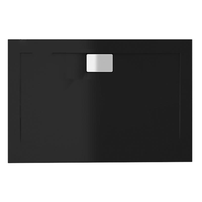 Schwarze Duschwanne für barrierefreies Bad 140 x 100 cm