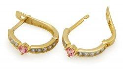 Złote kolczyki 585 z różową cyrkonią