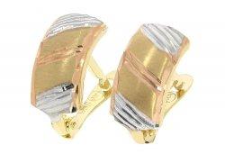 Kolczyki złote 585 3 kolory satynowane diamentowane rodowane etui