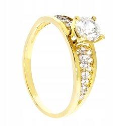 Wyjątkowy złoty pierścionek 585 z cyrkoniami