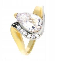 Złoty pierścionek 585 rodowany z cyrkonią