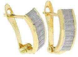 Kolczyki złote 585 diamentowane i rodowane etui dedykacja gratis