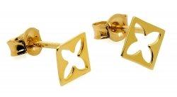 Złote kolczyki 585 kwadraciki