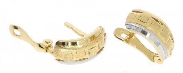 Kolczyki złote 585 diamentowane i rodowane 2 kolory