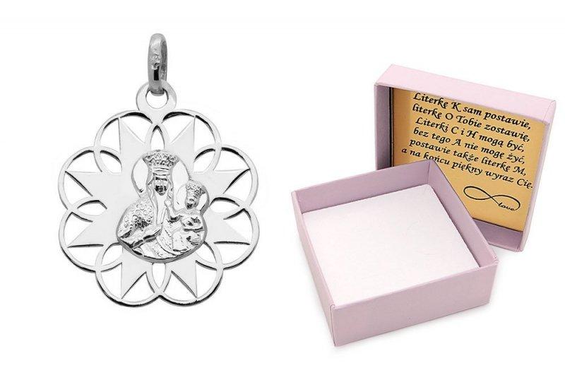 Zawieszka srebrna 925 medalik Matka Boska z Dzieciątkiem
