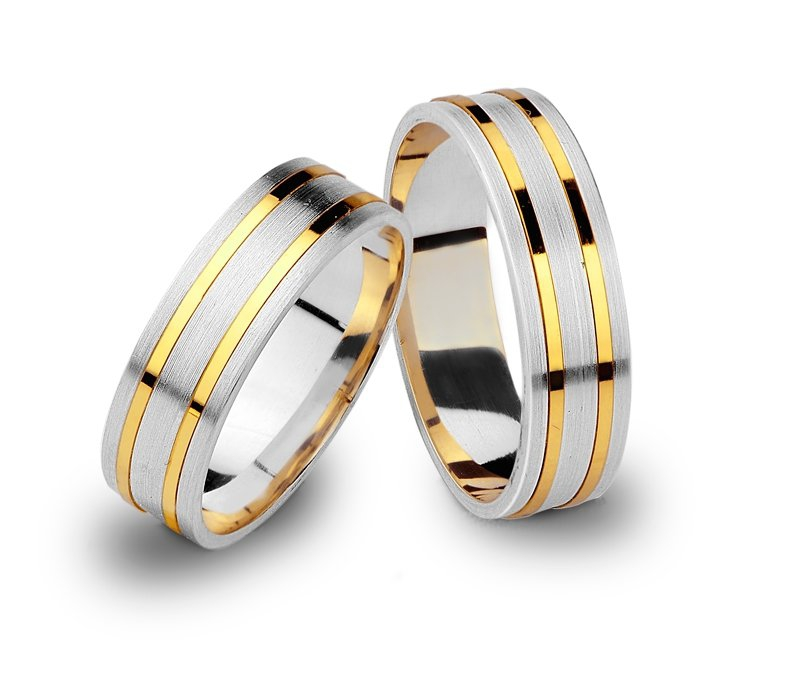 Srebrno-złote obrączki 925 585 złote paski