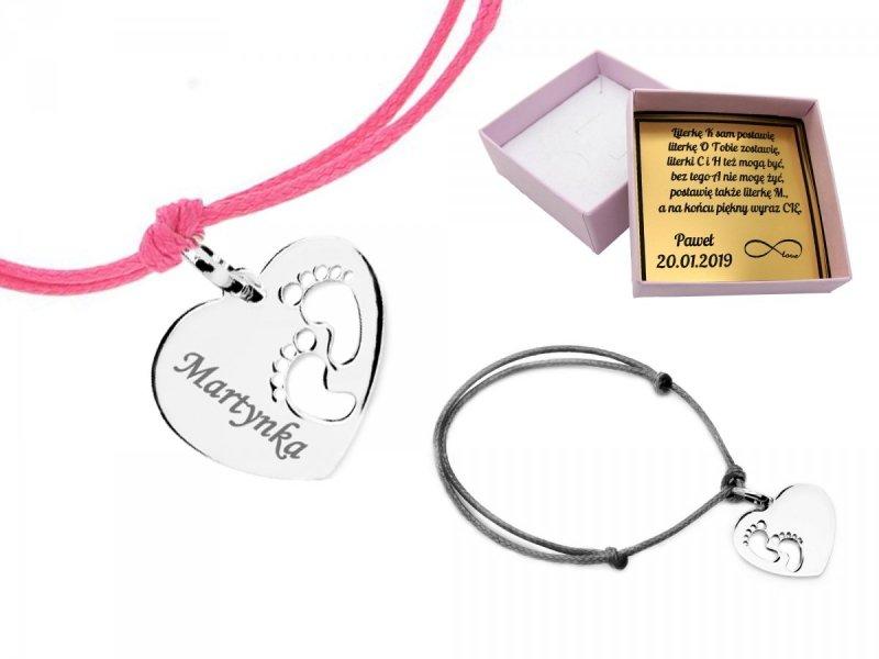 Srebrna bransoletka 925 stópki  serce dla mamy