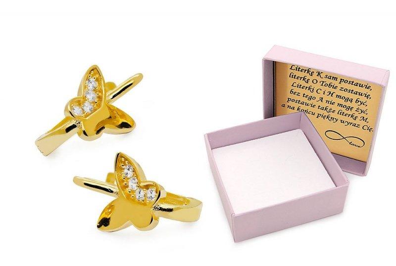 Złote kolczyki 585 motylki z cyrkoniami