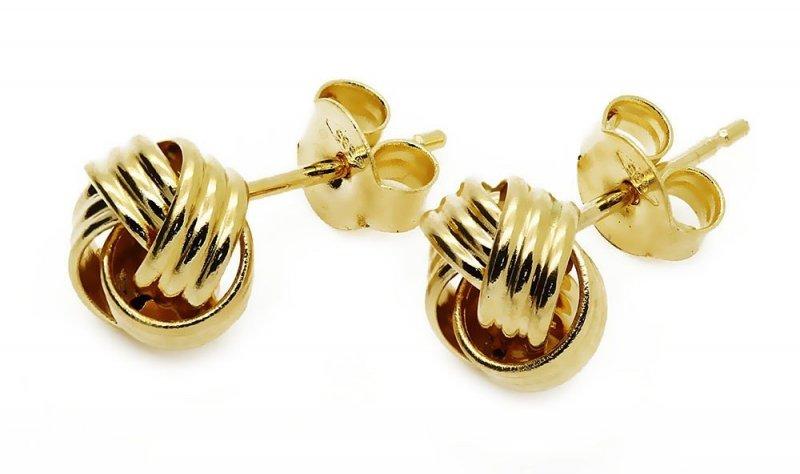 Złote kolczyki 585 plecionka