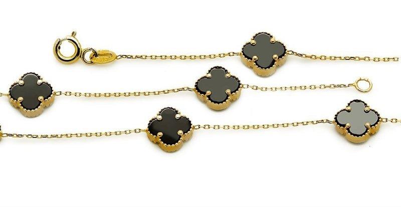 Złota bransoletka 585 czarne koniczynki