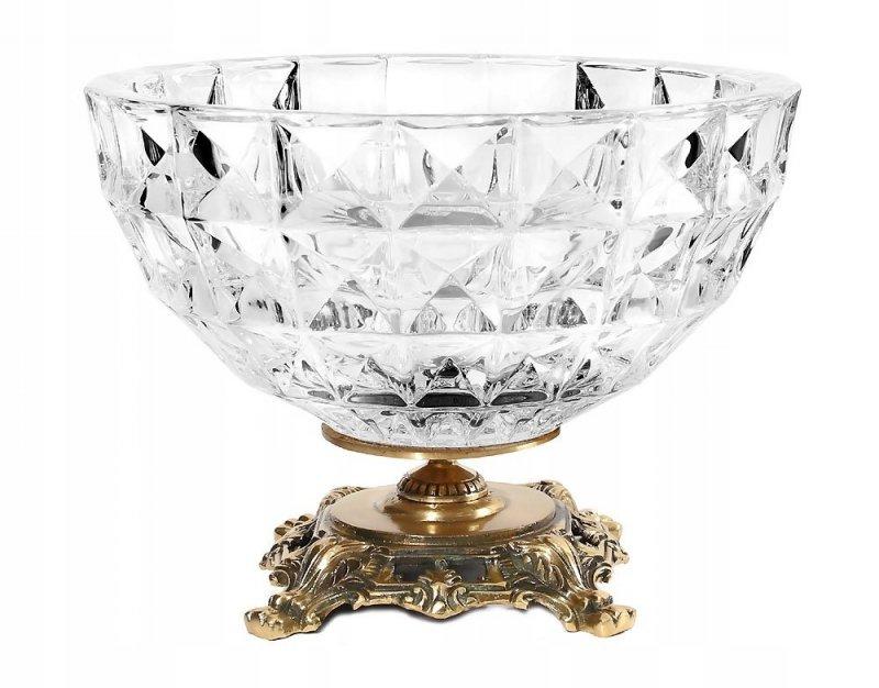 Kryształowa patera na owoce lub słodycze z elementami mosiądzu