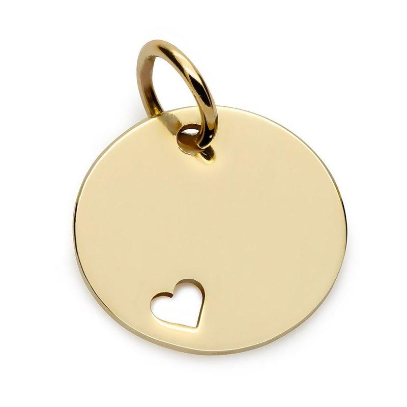 Złota zawieszka / bransoletka kółko z serduszkiem 14k / 585 GRAWER + etui GRATIS